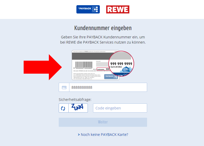 Connection of PAYBACK card to REWE