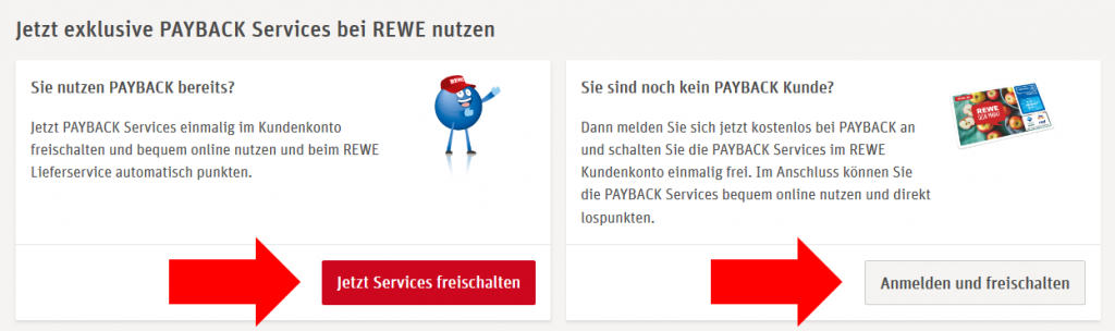 """Mein PAYBACK"" page in the REWE customer account"