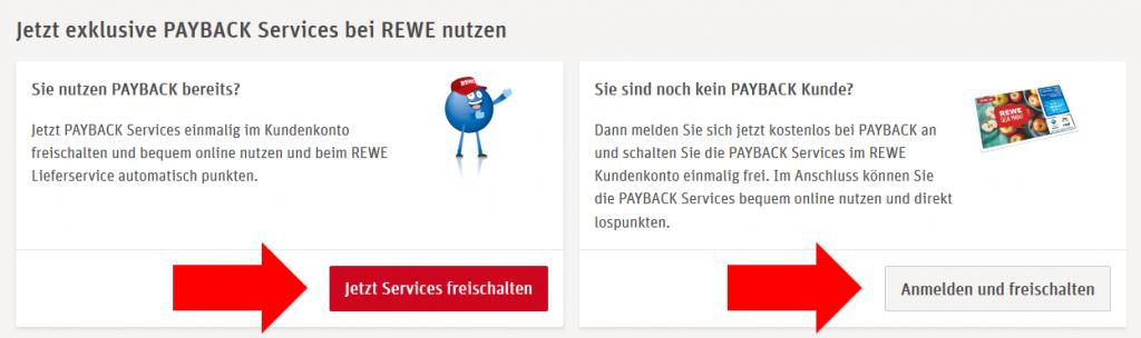 "Rubrik ""Mein PAYBACK"" im REWE Kundenkonto"