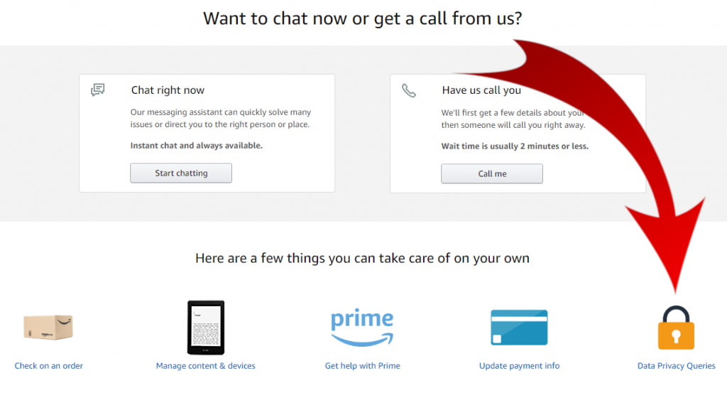 User interface of the Amazon support page