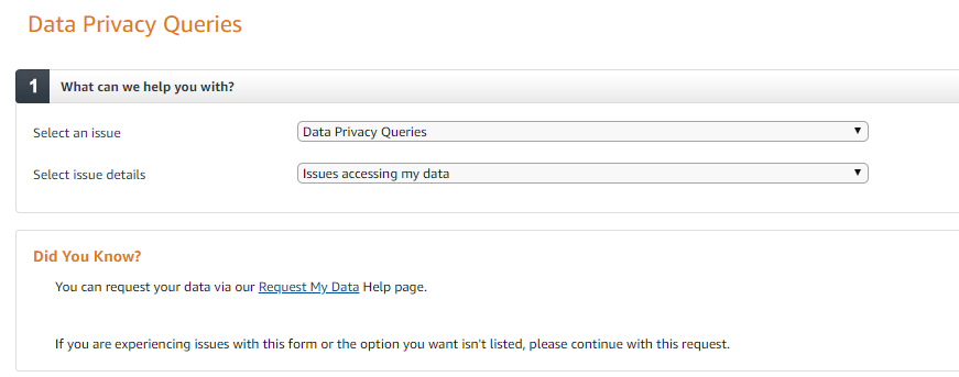 User interface for Data Privacy Queries