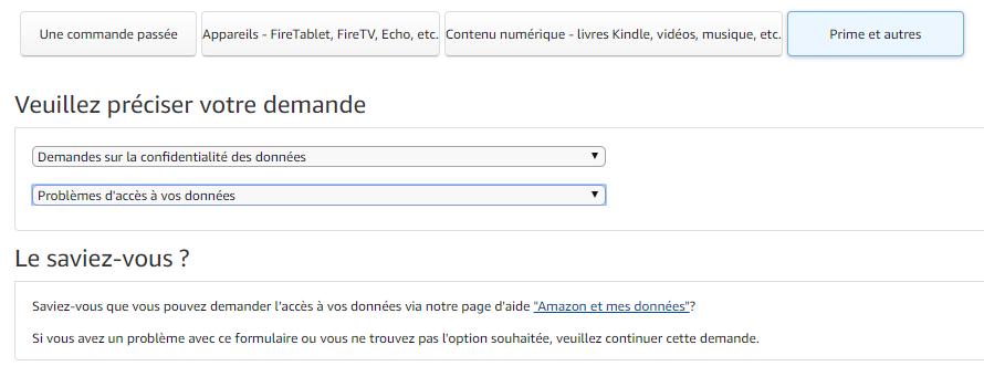 Interface utilisateur concernant les demandes sur la confidentialité des données Amazon