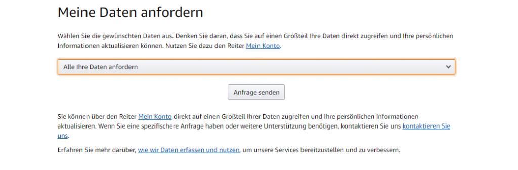 Nutzeroberfläche für deine Amazon-Daten anfordern