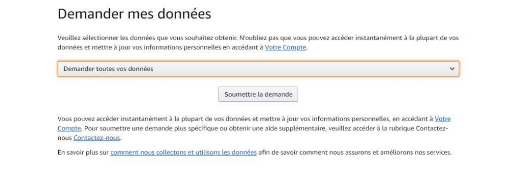 Interface utilisateur pour demander tes données Amazon
